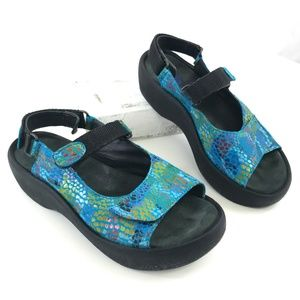 Wolky Shoes - WOLKY Jewel Turquoise Snakeskin Mary Jane Sandals